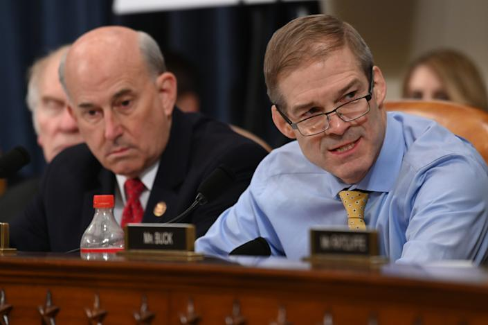 Rep. Louie Gohmert, R-Texas, left listens as Rep. Jim Jordan, R-Ohio speaks during the House Judiciary Committee markup of H.Res. 755, Articles of Impeachment Against President Donald J. Trump in Washington, DC on Dec. 12, 2019.