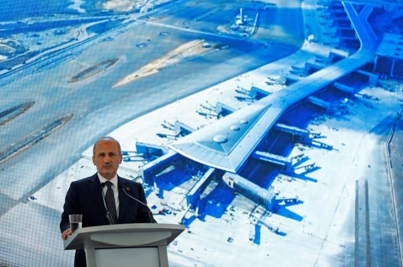 Turkey's Transport and Infrastructure Minister Turhan speaks during a news conference at the construction site of the city's third international airport in Istanbul