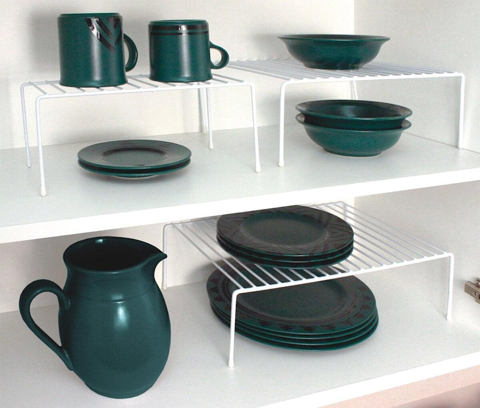 <p>Stack dishes, mugs, and other dinnerware with this <span>Carpen 3 Piece Helper Shelf Set</span> ($22). You'll be able to make the most out of your cabinet space.</p>