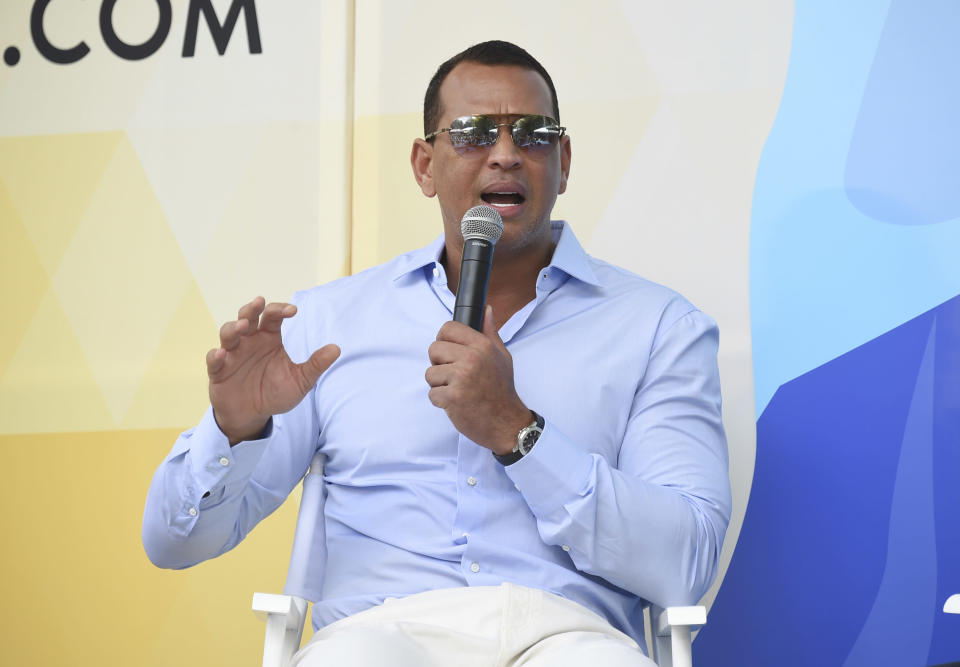 Alex Rodriguez speaks at OZY Fest in New York City on July 21, 2018. (Evan Agostini/Invision/AP)