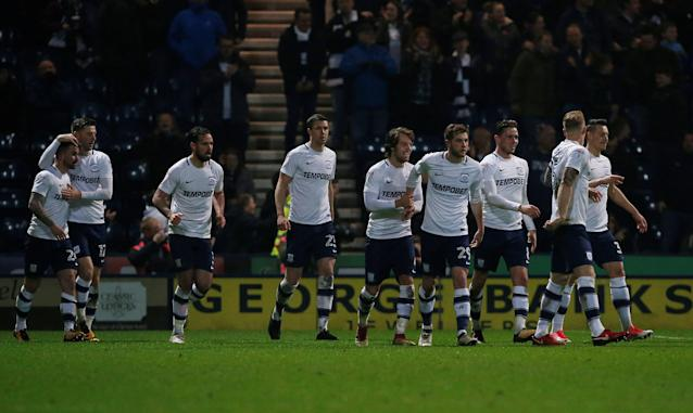 "Soccer Football - Championship - Preston North End vs Leeds United - Deepdale, Preston, Britain - April 10, 2018 Preston North End players congratulate each other after Sean Maguire scores their sides second goal Action Images/Craig Brough EDITORIAL USE ONLY. No use with unauthorized audio, video, data, fixture lists, club/league logos or ""live"" services. Online in-match use limited to 75 images, no video emulation. No use in betting, games or single club/league/player publications. Please contact your account representative for further details."