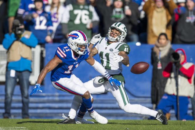 <p>Buster Skrine #41 of the New York Jets is called for pass interference while breaking up a pass intended for Zay Jones #11 of the Buffalo Bills during the first quarter at New Era Field on December 9, 2018 in Orchard Park, New York. (Photo by Brett Carlsen/Getty Images) </p>