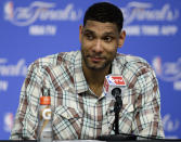 FILE - In this June 5, 2014 file photo, San Antonio Spurs forward Tim Duncan listens to a question during a news conference in San Antonio. Duncan, fellow NBA greats Kobe Bryant and Kevin Garnett headlined a nine-person group announced Saturday, April 4, 2020, as this years class of enshrinees into the Naismith Memorial Basketball Hall of Fame. They all got into the Hall in their first year of eligibility, as did WNBA great Tamika Catchings. Two-time NBA champion coach Rudy Tomjanovich, longtime Baylor womens coach Kim Mulkey, 1,000-game winner Barbara Stevens of Bentley and three-time Final Four coach Eddie Sutton were selected. So was former FIBA Secretary General Patrick Baumann. (AP Photo/Tony Gutierrez, File)