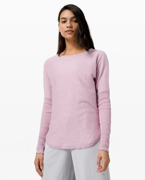 Take It All In Sweater in heathered pink taupe
