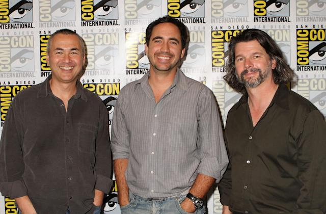 "Executive Producer/Showrunner Steven Maeda, Writer/Co-Executive Producer Cameron Porsandeh, and Executive Producer Ronald D. Moore at Syfy's ""Helix"" Panel in San Diego, CA on Friday, July 19, 2013."