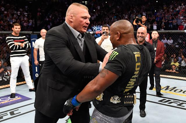 Brock Lesnar reportedly told UFC president Dana White that he is retiring from mixed martial arts. (Getty Images)