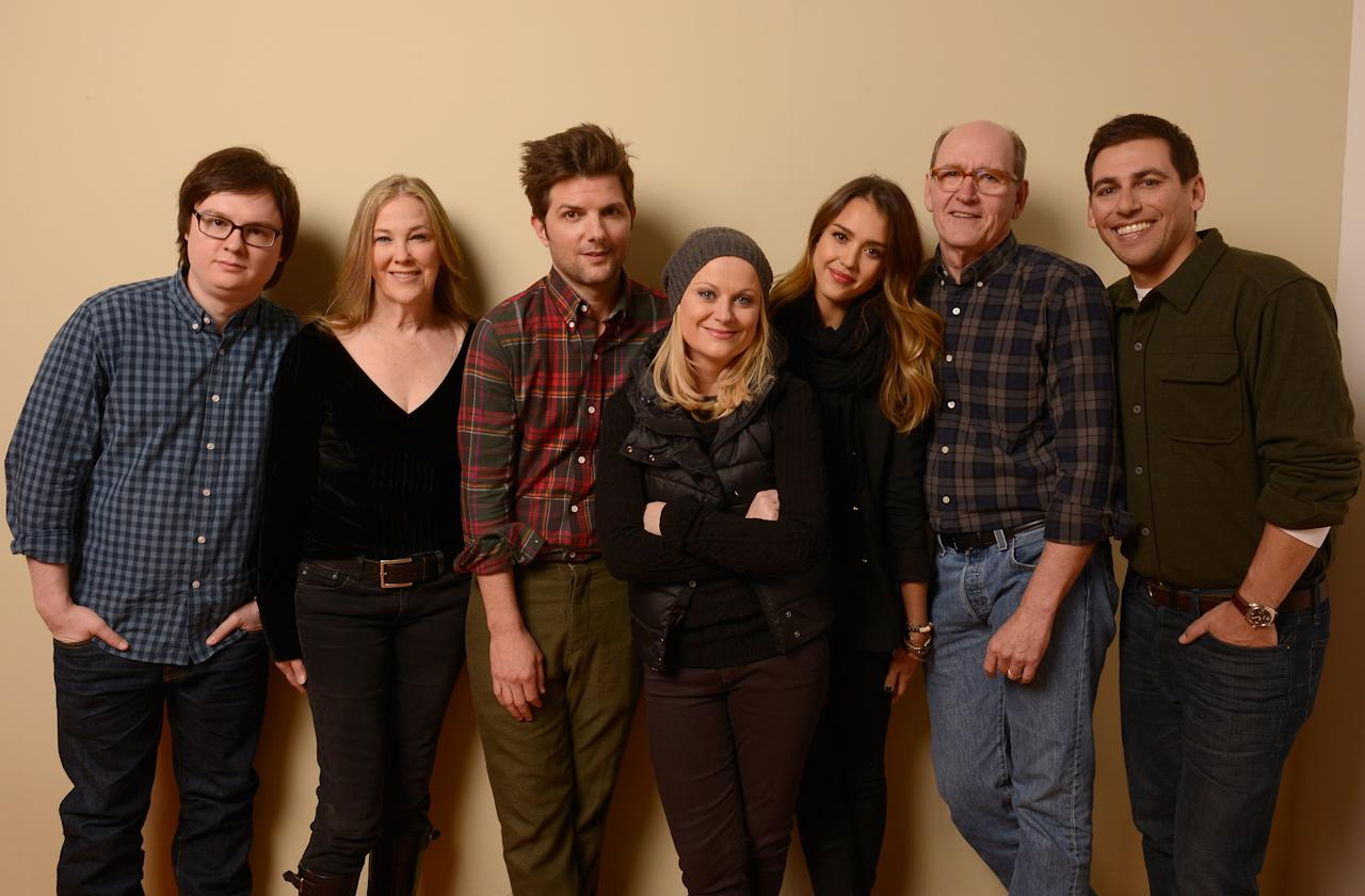 PARK CITY, UT - JANUARY 23:  (L-R) Actors Clark Duke, Catherine O'Hara, Adam Scott, Amy Poehler, Jessica Alba and Richard Jenkins and writer/director Stu Zicherman pose for a portrait during the 2013 Sundance Film Festival at the Getty Images Portrait Studio at Village at the Lift on January 23, 2013 in Park City, Utah.  (Photo by Larry Busacca/Getty Images)