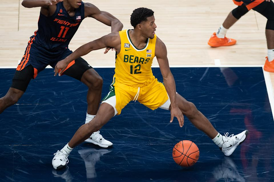 Baylor Bears guard Jared Butler (12) led his team to a No. 1 seed in the NCAA tournament. (Photo by Zach Bolinger/Icon Sportswire via Getty Images)
