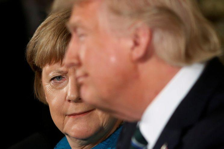 German Chancellor Angela Merkel and President Trump during a joint news conference