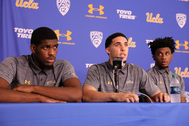 Cody Riley, LiAngelo Ball and Jalen Hill addressed the press after returning from China. (Reuters)