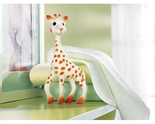 <b>Sophie the Giraffe by Vulli</b><br><br>Born in 1961, her success is legendary in France. Made in the French Alps with natural rubber and paint, Sophie has been safely cuddled and chewed for over 40 years. She is soft, light and easy to grasp and fits perfectly into little hands. Babies especially love her bumpy head to soothe their teething gums. Suggested price $21.99, recommended age birth to 11 months.