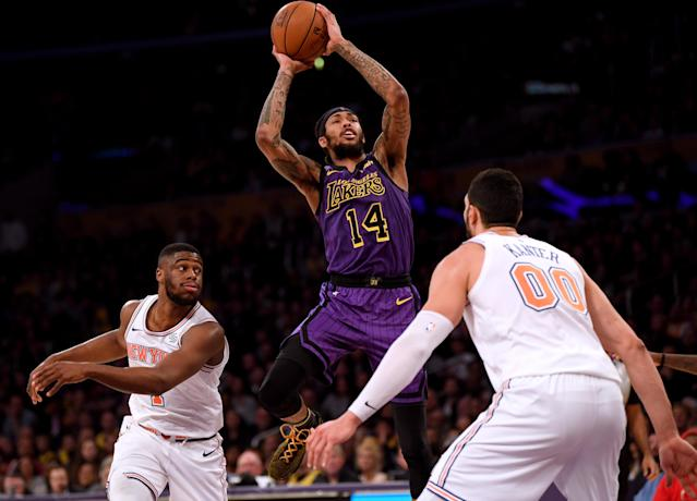 LOS ANGELES, CALIFORNIA - JANUARY 04: Brandon Ingram #14 of the Los Angeles Lakers attempts a shot between Emmanuel Mudiay #1 and Enes Kanter #00 of the New York Knicks during a 119-112 Knicks win at Staples Center on January 04, 2019 in Los Angeles, California. (Photo by Harry How/Getty Images)