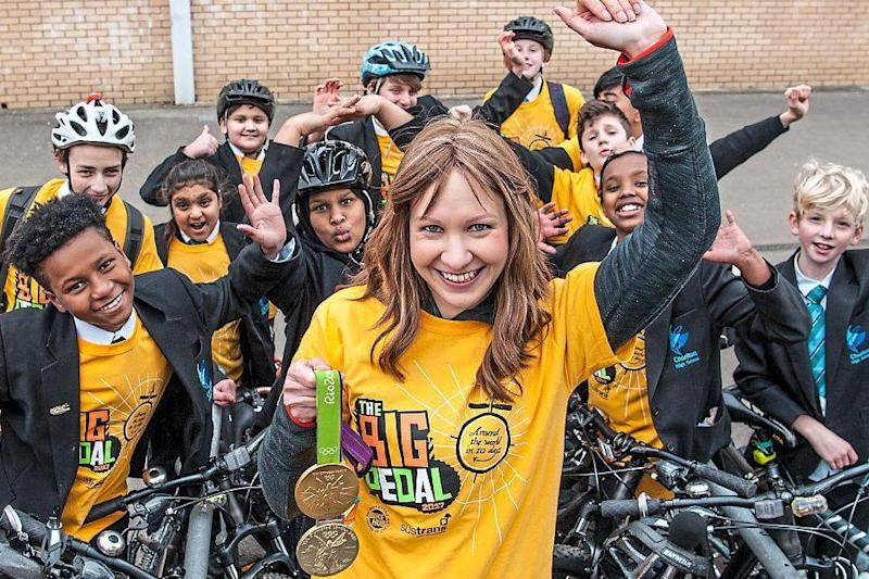 Medal winner: Joanna Rowsell Shand launches the Big Pedal challenge to get pupils cycling and scooting to school