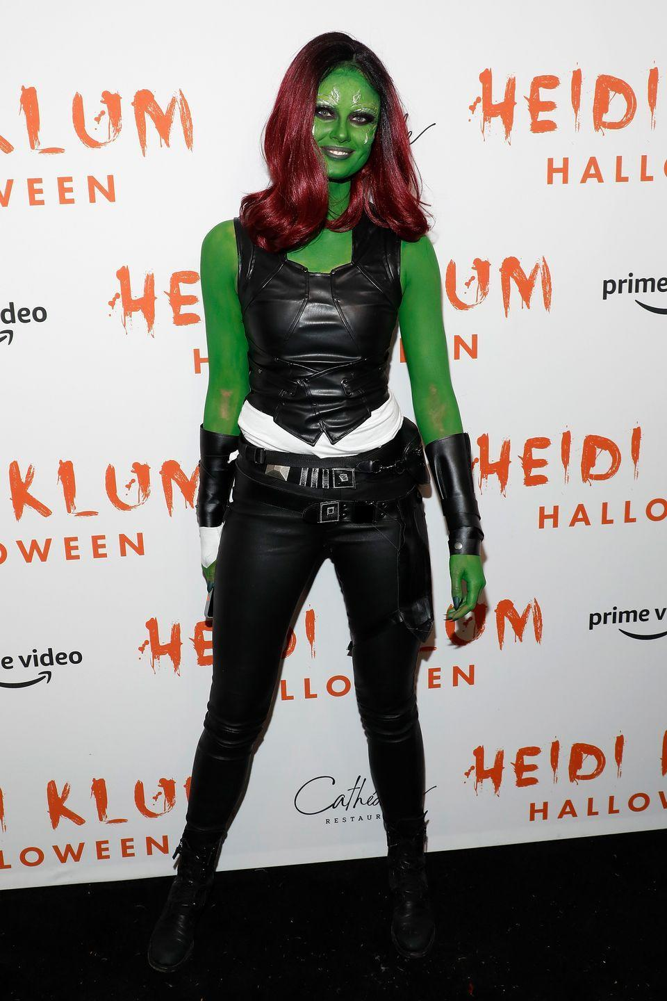 <p>The model paid tribute to Zoe Saldana's Guardians of the Galaxy character Gamora at Klum's 20th annual bash.</p>