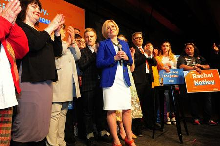 Alberta New Democratic (NDP) leader and Premier Rachel Notley reacts to her loss at her election night party in Edmonton