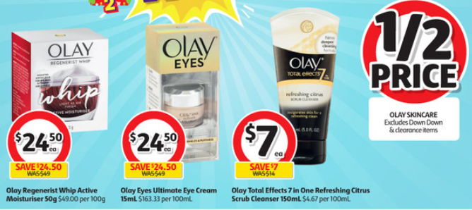 Olay range on half-price sale at Coles.