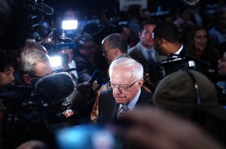 Senator Bernie Sanders with reporters after the second night of the first U.S. 2020 presidential election Democratic candidates debate in Miami, Florida, U.S.