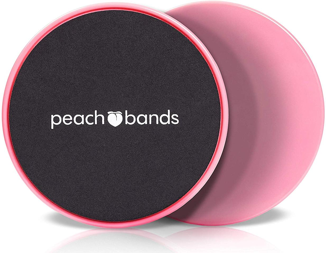 """<p>This <a href=""""https://www.popsugar.com/buy/Peach-Bands-Exercise-Sliders-Set-439931?p_name=Peach%20Bands%20Exercise%20Sliders%20Set&retailer=amazon.com&pid=439931&price=18&evar1=fit%3Aus&evar9=46418649&evar98=https%3A%2F%2Fwww.popsugar.com%2Fphoto-gallery%2F46418649%2Fimage%2F46418693%2FPeach-Bands-Exercise-Sliders-Set&list1=shopping%2Cfitness%20gear%2Chome%20workouts%2Cfitness%20shopping&prop13=api&pdata=1"""" rel=""""nofollow"""" data-shoppable-link=""""1"""" target=""""_blank"""" class=""""ga-track"""" data-ga-category=""""Related"""" data-ga-label=""""https://www.amazon.com/Peach-Bands-Exercise-Fitness-Equipment/dp/B07F1659MR/ref=sr_1_2?crid=260ICY89KXNYF&amp;keywords=best+workout+equipment&amp;qid=1556239371&amp;s=gateway&amp;sprefix=best+workout+equi%2Caps%2C192&amp;sr=8-2"""" data-ga-action=""""In-Line Links"""">Peach Bands Exercise Sliders Set </a> ($18) is great for doing videos at home.</p>"""