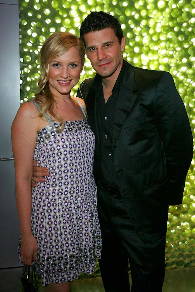"Steven Spielberg's step-daughter, Jessica Capshaw, poses for a picture with the former ""Angel"" star/forever hottie, David Boreanaz. Donato Sardella/<a href=""http://www.wireimage.com"" target=""new"">WireImage.com</a> - March 19, 2008"