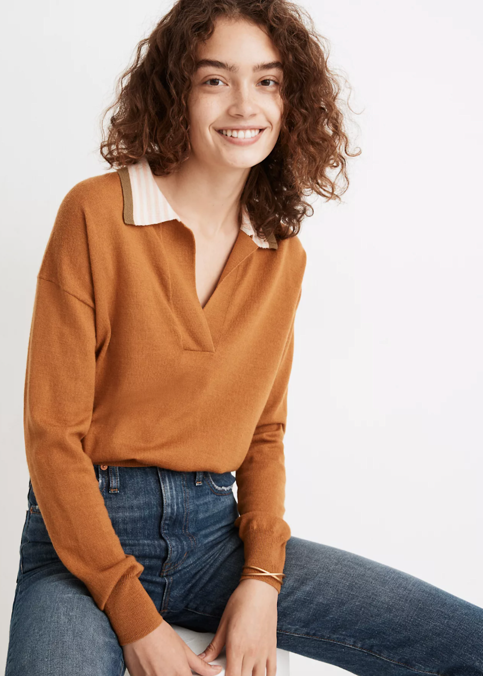 "<br><br><strong>Madewell</strong> Colorblock Polo Sweater, $, available at <a href=""https://go.skimresources.com/?id=30283X879131&url=https%3A%2F%2Fwww.madewell.com%2Fcolorblock-polo-sweater-MA691.html"" rel=""nofollow noopener"" target=""_blank"" data-ylk=""slk:Madewell"" class=""link rapid-noclick-resp"">Madewell</a>"