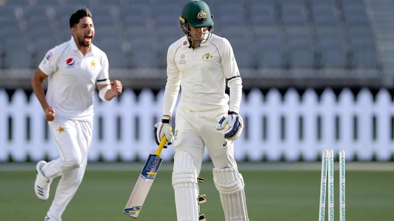 Alex Carey had his stumps rattled as Australia A collapsed against Pakistan in their tour match