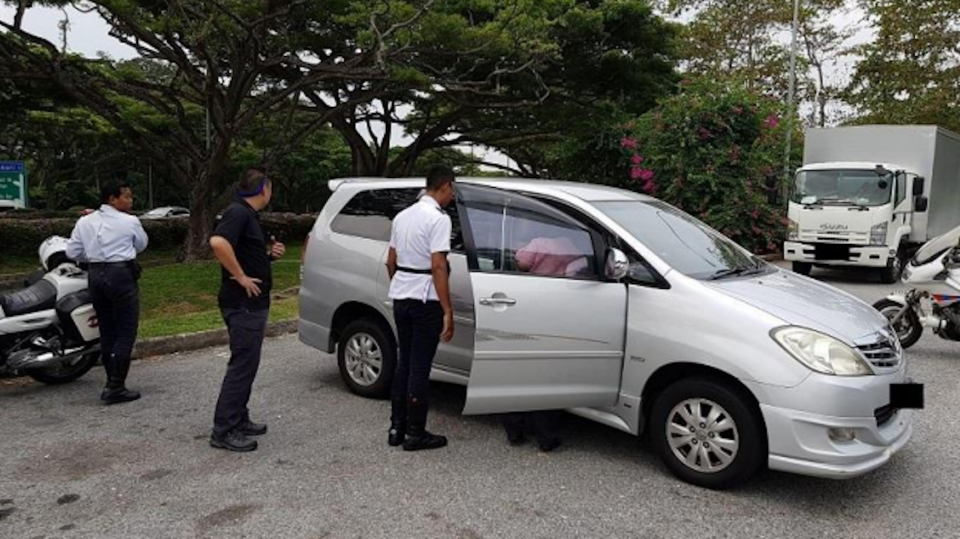 LTA officers conducting enforcement operations along East Coast Park Service Road. (PHOTO: Land Transport Authority)