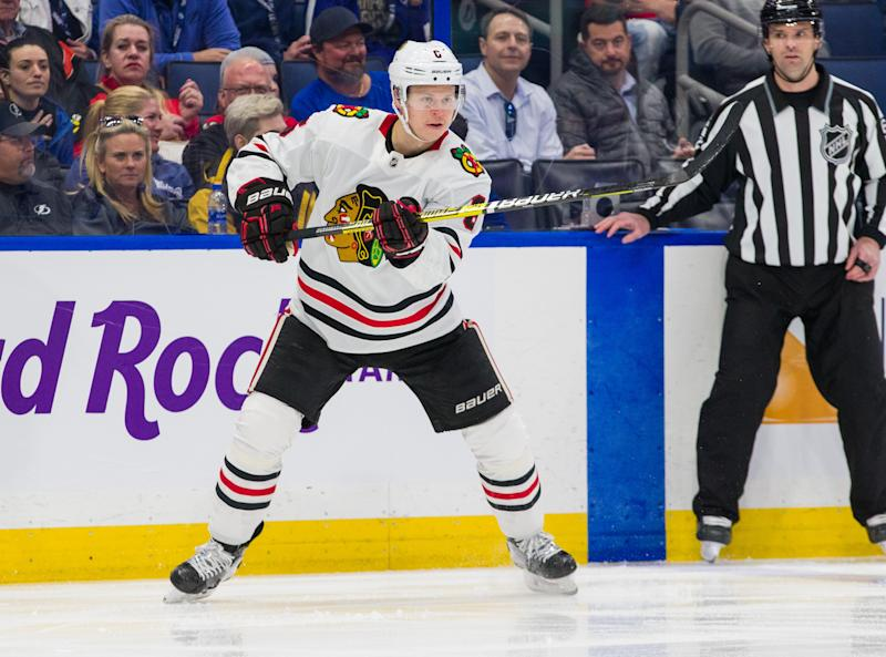 TAMPA, FL - FEBRUARY 27: Olli Maatta #6 of the Chicago Blackhawks against the Tampa Bay Lightning at Amalie Arena on February 27, 2020 in Tampa, Florida. (Photo by Scott Audette /NHLI via Getty Images)
