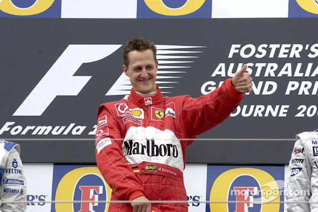 "El ganador de la carrera Michael Schumacher <span class=""copyright"">Ferrari Media Center</span>"