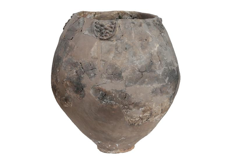 In this image released by the Georgian National Museum and received by AFP on November 13, 2017, shows a a neolithic jar from Khramis Didi-Gora, Georgia