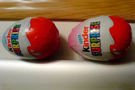 Color-coded Kinder eggs.
