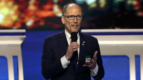 PHOTO: Chair of the Democratic National Committee Tom Perez speaks prior to the Democratic presidential primary debate in the Sullivan Arena at St. Anselm College on February 07, 2020 in Manchester, New Hampshire. (Joe Raedle/Getty Images)