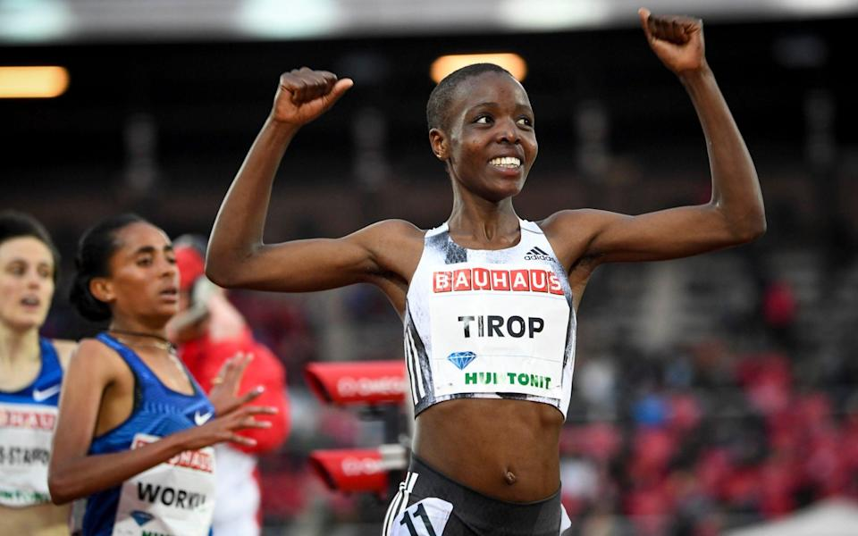 Agnes Tirop of Kenya smiles after winning the women's 1500m race at the IAAF Diamond League meeting at Stockholm Olympic Stadium in Stockholm, Sweden. Kenyan runner Agnes Tirop, a two-time world championships bronze medalist, has been found dead at her home in Iten in western Kenya, the country's track federation said Wednesday, Oct. 13, 2021 - TT News Agency
