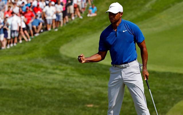 Tiger Woods starts Sunday's final round at Bellerive just four strokes off the lead. (AP Photo)
