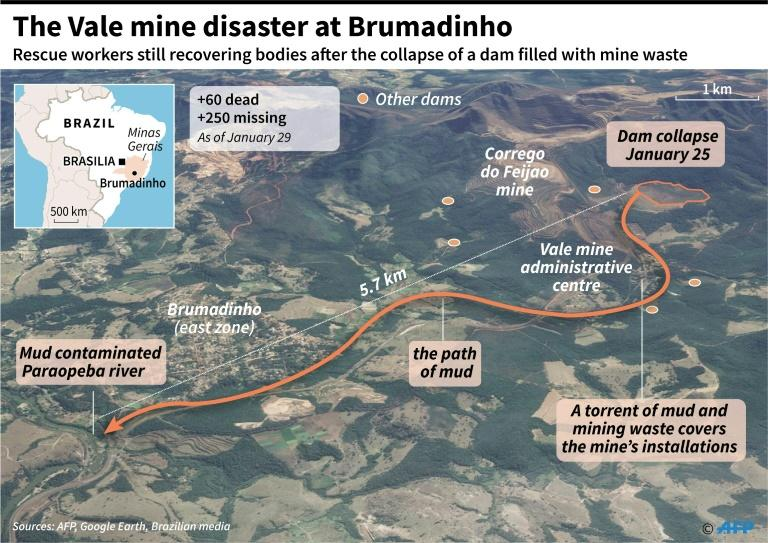 Map of the path of muddy mining waste after a dam collapsed at the Vale mine near Brumadinho, in south-east Brazil