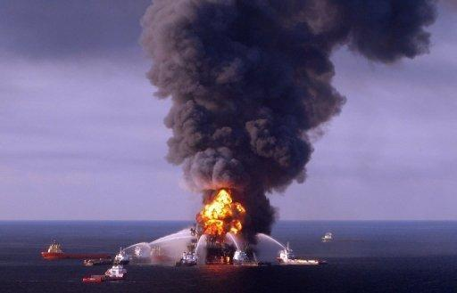 Fire boats battle the blazing remnants of the BP-operated off-shore oil rig Deepwater Horizon, in the Gulf of Mexico in 2010. BP has agreed to pay a record $4.5 billion in US fines for the 2010 Gulf of Mexico oil spill and pled guilty to 14 counts including felony manslaughter in the deaths of 11 workers