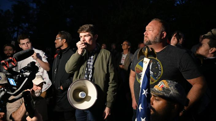 Nick Fuentes, Alex Jones, Ali Alexander during a 'Stop the Steal,' Far-Right Rallies leaders, broadcaster rally at the Governor's Mansion in Georgia November 19th, 2020 as the state finishes the recount in the Presidential election - calling on Governor Kemp to help President Trump. (Zach Roberts/NurPhoto via Getty Images)