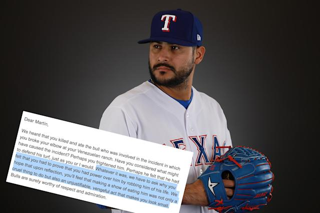 Texas Rangers pitcher Martin Perez has angered PETA. (Getty Images)