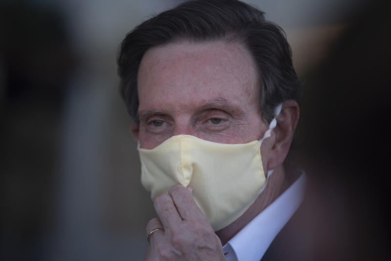 The Mayor of the city of Rio de Janeiro, Marcelo Crivella, talks about the ''lockdown'' during a press conference at the Field Hospital, for the treatment of patients with the corona virus, Covid 19, in Rio Centro, west of the city, on May 12, 2020. (Photo by Fabio Teixeira/NurPhoto via Getty Images)