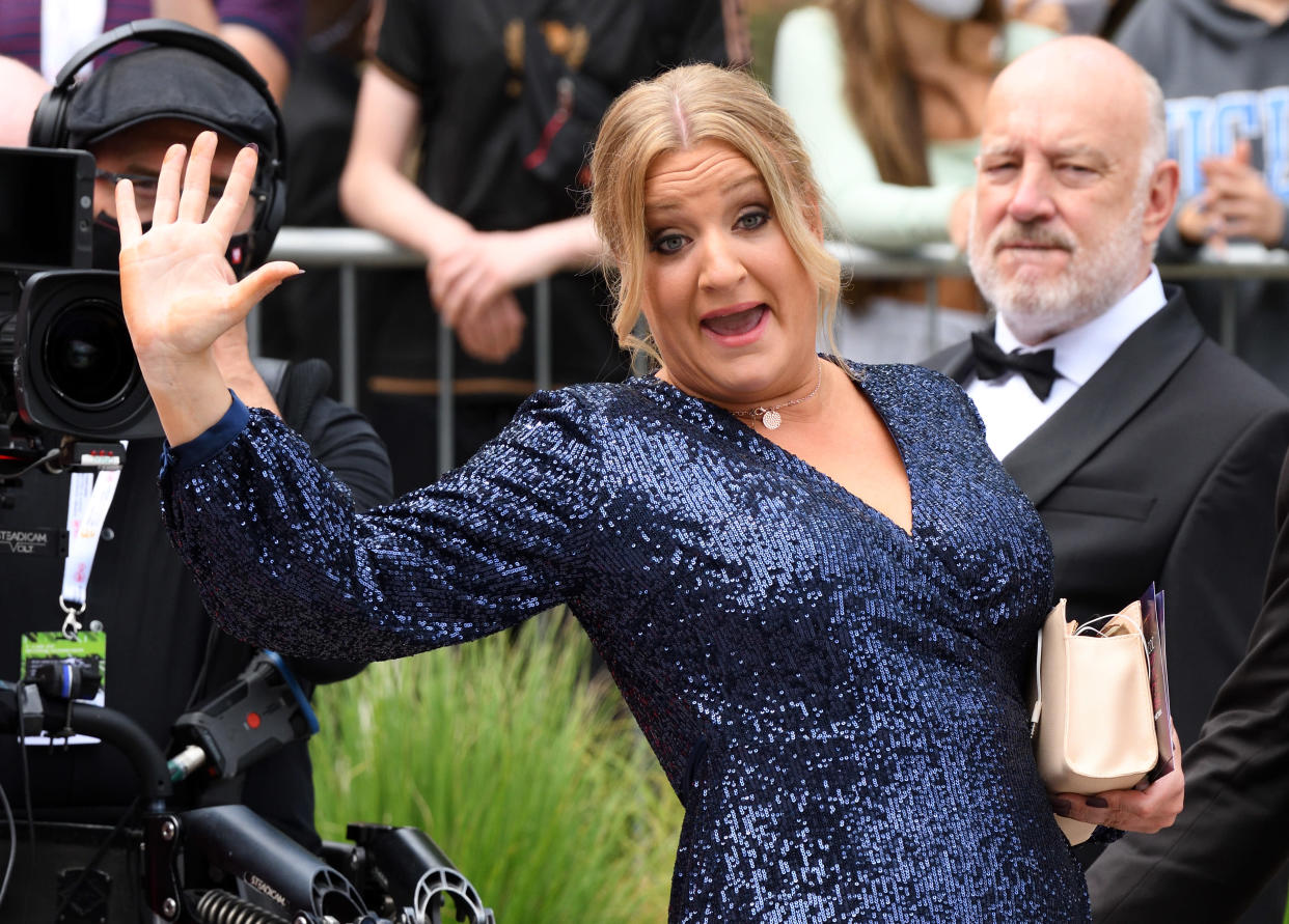 LONDON, ENGLAND - JUNE 06: Daisy May Cooper arrives for the Virgin Media Bafta TV Awards at Television Centre on June 06, 2021 in London, England. (Photo by Karwai Tang/WireImage)