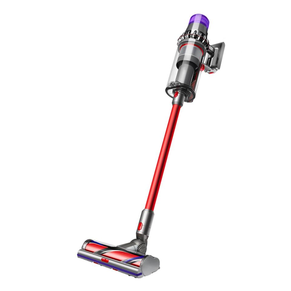 """Save $100 on this powerful model with twice the suction of any other cordless vacuum, three cleaning modes optimized for a variety of tasks, and a full-sized bin which means less emptying for you. What's more, the digital display shows run time countdown and displays maintenance alerts, so you don't have to do any guesswork. $800, Dyson. <a href=""""https://www.dyson.com/vacuum-cleaners/sticks/dyson-v11-stick/dyson-v11-outsize-nickel-red"""" rel=""""nofollow noopener"""" target=""""_blank"""" data-ylk=""""slk:Get it now!"""" class=""""link rapid-noclick-resp"""">Get it now!</a>"""