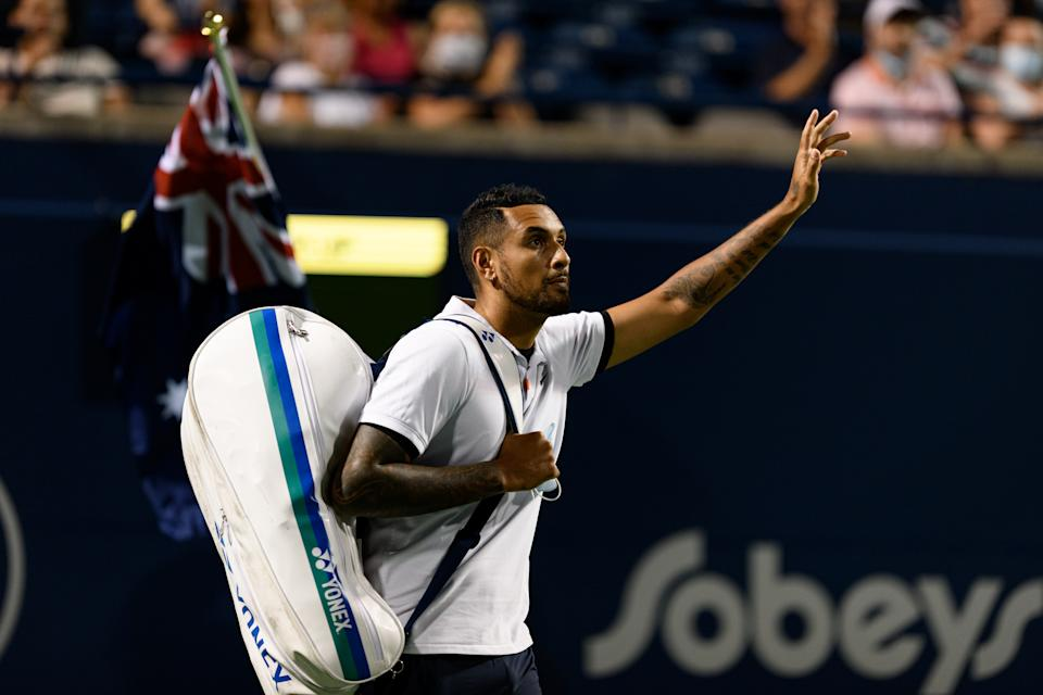 Nick Kyrgios (pictured) waves to the crowd before his National Bank Open tennis tournament first round game on August 9, 2021.