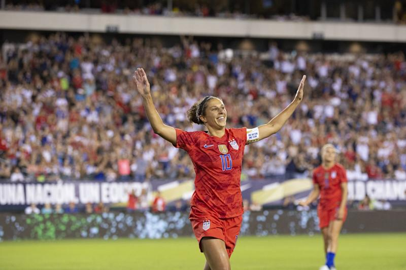 PHILADELPHIA, PA- AUGUST 29: Carli Lloyd #10 of United States of the U.S. Women's 2019 FIFA World Cup Championship flaps her arms like an Eagle as she celebrates soaring a goal in the 2nd half of the Victory Tour presented by Allstate match between the U.S. Women's National Team and Portugal. The match was held at Lincoln Financial Field in Philadelphia, PA on August 29, 2019, USA. The U.S. Women's team won the match with a score of 4 to 0. (Photo by Ira L. Black/Corbis via Getty Images)