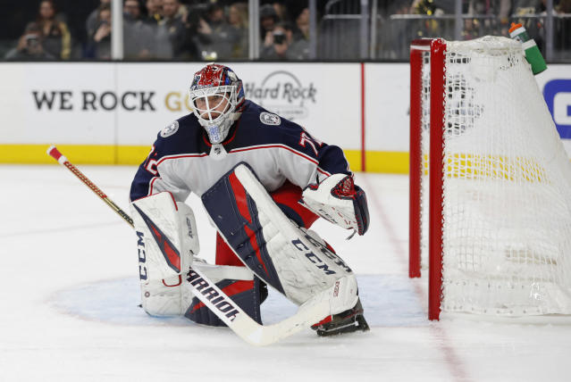 FILE - In this Feb. 9, 2019, file photo, Columbus Blue Jackets goaltender Sergei Bobrovsky (72) plays against the Vegas Golden Knights during the second period of an NHL hockey game, in Las Vegas. Bobrovsky, Erik Karlsson and Artemi Panarin are a few of the potential free agents in the NHL with a lot at stake down the stretch of the regular season and in the postseason. (AP Photo/John Locher, File)