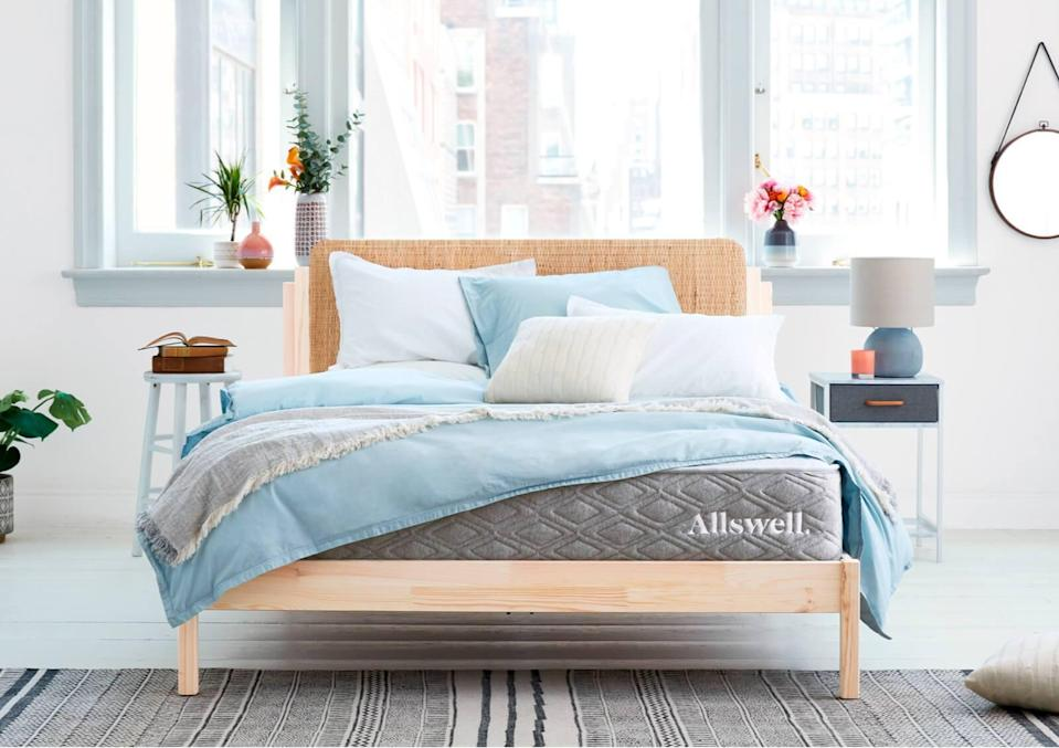 """<h3>Allswell</h3><br><strong>Dates:</strong> Now - 11/23<br><strong>Deal: </strong>20% off select mattresses<br><strong>Promo Code: </strong>GOBBLE20<br><br><em>Shop </em><strong><em><a href=""""https://allswellhome.com/"""" rel=""""nofollow noopener"""" target=""""_blank"""" data-ylk=""""slk:Allswell"""" class=""""link rapid-noclick-resp"""">Allswell</a></em></strong><br><br><strong>Allswell</strong> Luxe Hybrid Mattress, $, available at <a href=""""https://go.skimresources.com/?id=30283X879131&url=https%3A%2F%2Fallswellhome.com%2Fproducts%2Fluxe-classic-firmer-hybrid-mattress"""" rel=""""nofollow noopener"""" target=""""_blank"""" data-ylk=""""slk:Allswell"""" class=""""link rapid-noclick-resp"""">Allswell</a>"""