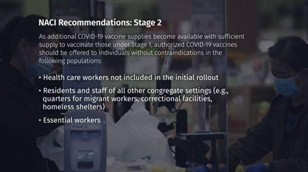 Under Stage 2, NACI recommends vaccinating remaining health care workers, residents of congregate settings and essential workers.
