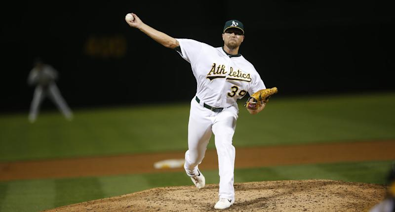 Blake Treinen will be receiving a lot of interest league-wide after the Oakland Athletics cut him loose on Monday (Michael Zagaris/Oakland Athletics/Getty Images)