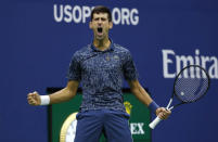 FILE - In this Sept. 9, 2018, file photo, Novak Djokovic, of Serbia, reacts after breaking the serve of Juan Martin del Potro, of Argentina, during the men's final of the U.S. Open tennis tournament, in New York. Djokovic announced Thursday, Aug. 13, 2020, he will enter the Grand Slam tournament and the hard-court tuneup preceding it in New York.(AP Photo/Adam Hunger, File)