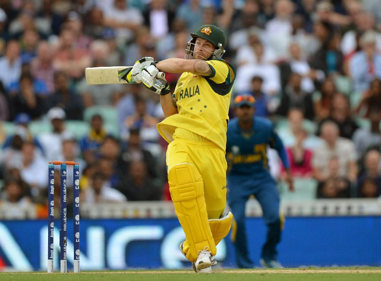 Australia's Matthew Wade bats during the ICC Champions Trophy match at The Oval, London.