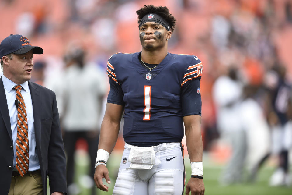Chicago Bears quarterback Justin Fields (1) walks off the field after the Cleveland Browns defeated the Bears in an NFL football game, Sunday, Sept. 26, 2021, in Cleveland. (AP Photo/David Richard)