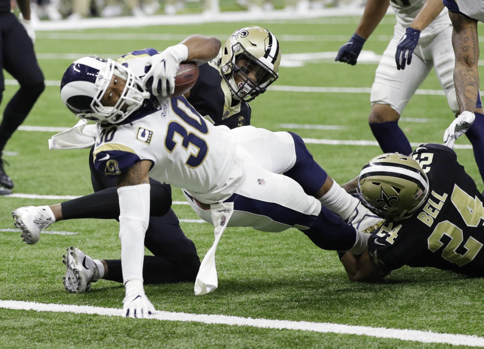 Los Angeles Rams' Todd Gurley dives into the end zone for a touchdown on one of his few touches for the Saints. (AP)
